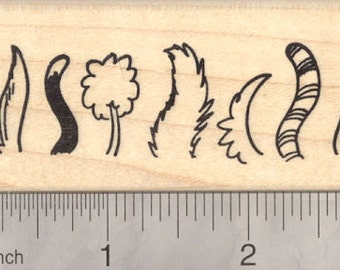 Cat and Dog Tails Rubber Stamp, Poodle, Striped Tail, Bushy Tail  J18617 Wood Mounted