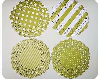 French Lace Green Doily polka dot & stripe for Scrap booking or card making / pack