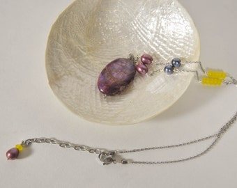 Imperial Purple Jasper Pendant Necklace with Pearls and Yellow Jade