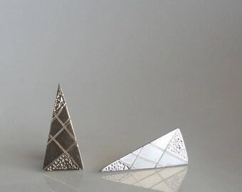 Silver geometric earrings, Sterling silver triangle earrings, Triangle studs, Minimalist earring studs, Spike earring, Geometric studs, Gift