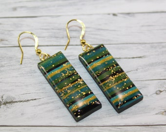 Turquoise, gold and black striped earring
