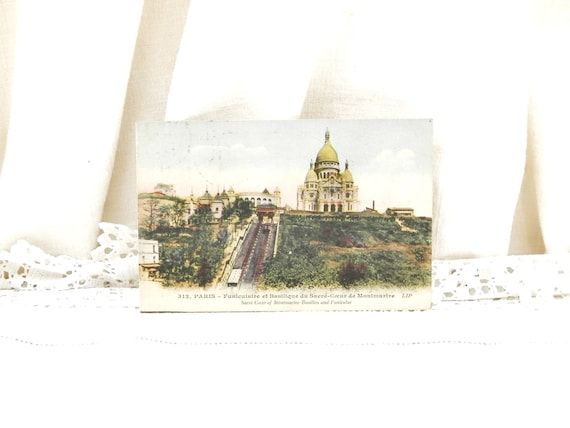 Antique French Colored Black and White Postcard View of Sacre Coeur de Montmartre in Paris, Retro Parisian Decor, Deltiology from France