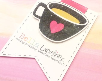 SALE Coffe Cup Magnetic Bookmark - Planner Clip