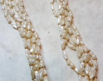 1990's 6 Strand Faux Round & Elongated Pearl Torsade Necklace