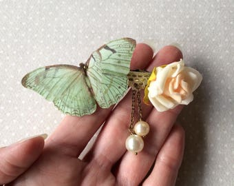 Handmade Hair Barrette with Rose Flower, Cotton and Silk Organza Butterflies, Lace and Vintage Glass Pearls in Seafoam, Ivory and Pink OOAK