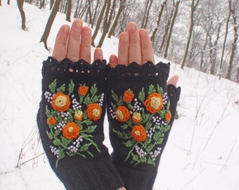 Fingerless Gloves,Hand Knitted Mittens,Gloves And Mittens,Black mitts,Roses,Wrist warmers,Lace