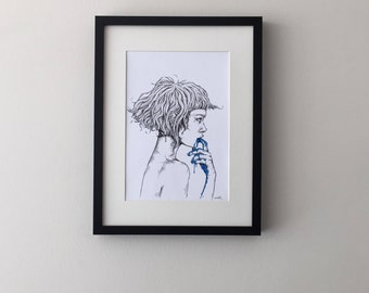 Blue Goo Girl, print of original ink drawing