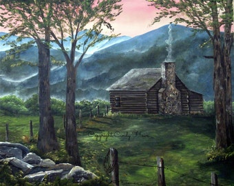 Digital art, Log cabin, mountains, country, Blue Ridge Mountains, cabin, landscape, mountain cabin, mountain landscape