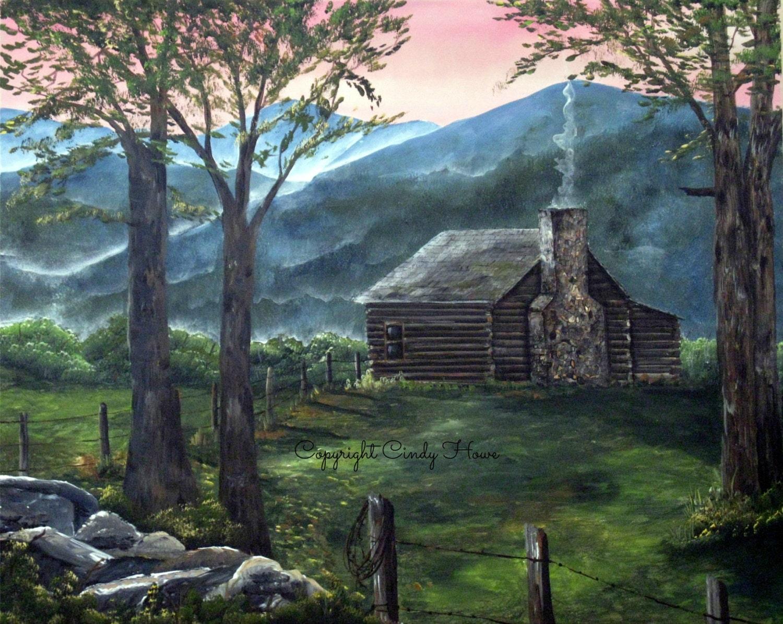Digital art Log cabin mountains country Blue Ridge