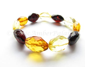 Faceted Multicolor Baltic Amber Bracelet For Adults