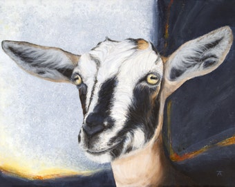 "Goat, ""Boundless Enthusiasm"" giclée print from original painting"