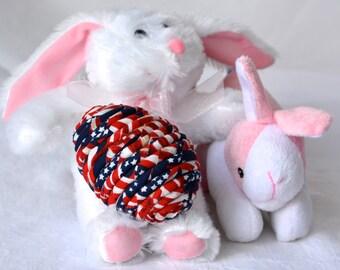 Memorial Day Decor, Handmade Red White and Blue Decoration, Patriotic Egg Basket Filler, Hand Coiled Fiber Bowl Filler, Military