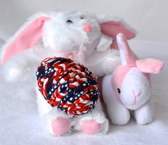 Easter Egg Ornament, Handmade Red White and Blue Decoration, Patriotic Easter Egg, Basket Filler, Hand Coiled Fiber Easter Egg, Military