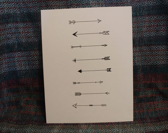 Hand Drawn 8x10 Arrow Print, Arrows Drawing
