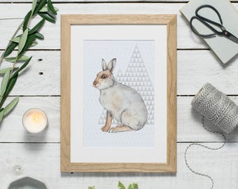 Watercolour hare print - mountain hare art - hare print - watercolour painting - wildlife art - triangles - sale