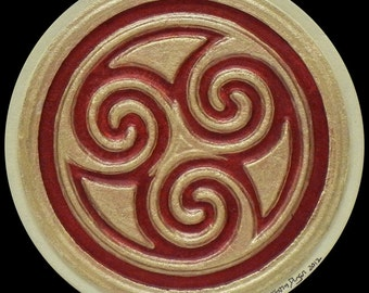 Triskelion - Cast Paper - Irish Art - Scottish - Celtic Knot Work - Spiral - Triskele