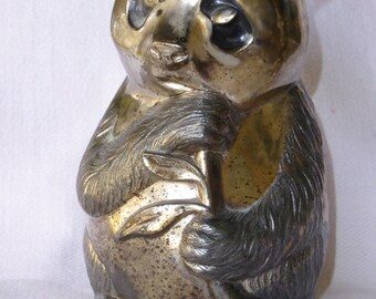 Vintage Silverplate Figural Still Bank of Panda eating Bamboo Shoot.
