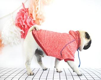 Pug red hoodie.