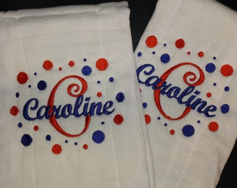 Personalized Embroidered Baby Burp Cloth Set of 2 for Girl Polka Dots  B115