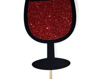 Photo Booth Prop - Red Wine Photo Booth Prop with Glitter