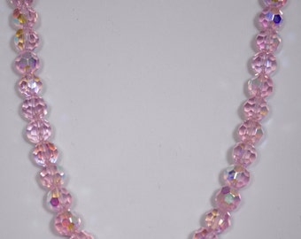 "Necklace Handmade Pale Pink Crystal Beads, adjustable from 15.5"" to 18"""