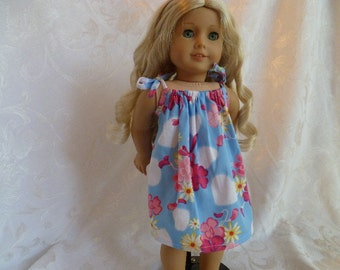 18 Inch Doll Hand Made Summer Dress, Flowers & Hearts Doll Drawstring Dress, Blue Summer Doll Dress fits American Girl Dolls