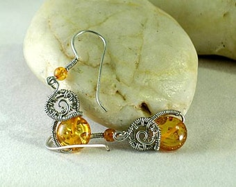 Amber Coiled Spiral - Wire Wrapped Earrings - Aztec - Native American