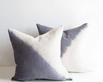 Dip Dye Pillow Cover   Diagonal Grey Tie Dye, Various Sizes