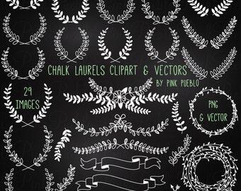 Chalkboard Laurel Clip Art Clipart, Chalk Floral Clipart Clip Art Vectors - Commercial and Personal Use