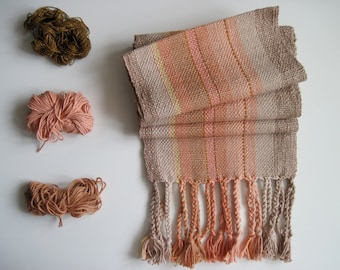 Salmon and Driftwood Handwoven Cotton Scarf, Winter Accessory