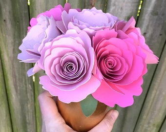 Potted Pink Paper Roses - Pink Paper Flowers - Pink and Gold