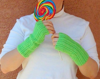 Lime Green Fingerless Gloves for Men or Women  - Neon Green, Crochet Fingerless Gloves, Arm Warmers, Fingerless Mittens - MADE TO ORDER