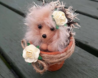 """Needle felted little Hedgehog in a flower pot with embellishments. Miniature 2"""" tall. Hedgehog gift idea."""