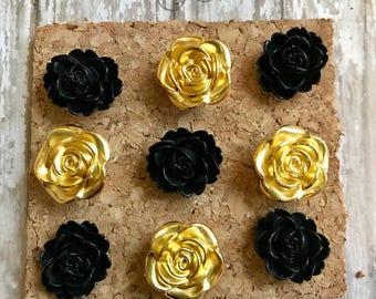 Fridge Magnets, Decorative Thumb tacks, Black and Gold Hostess Gift, Cork Board pins, Mothers Day Gift, Floral Magnets, Memo board decor