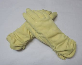 1950s Vintage Yellow Dress Fashion Gloves with Rouching, Size 6.5 to 7, Costume, Vintage Gloves, Plays, Drama, Fashion Gloves, Dress Up