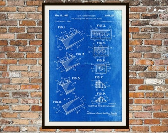Lego Patent  - Blueprint Art of a Lego Brick Angled Technical Drawings Engineering Drawings Patent Blue Print Art Item 0073
