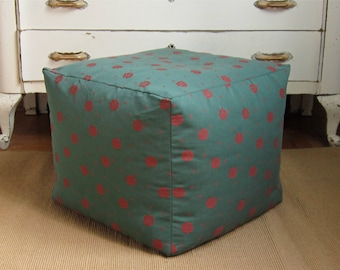 Green square pouf cover, 18.5x18.5x16, green floor pillow, green pouf ottoman, green foot stool, foot stool, pouffe, large floor cushion