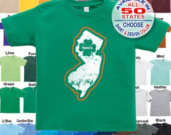 New Jersey Home State Irish Shamrock T-Shirt - Boys / Girls / Infant / Toddler / Youth sizes