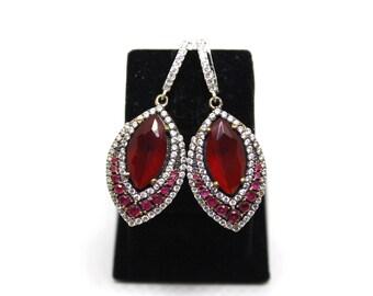 925 Sterling Silver Earrings, Ruby Earrings, Grandbazaar
