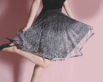 Little black  strapless dress  /Tutu tulle dots / mini /Beautiful black and white and silver dots skirt