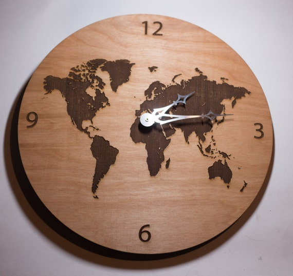 World map wooden clock gumiabroncs Choice Image
