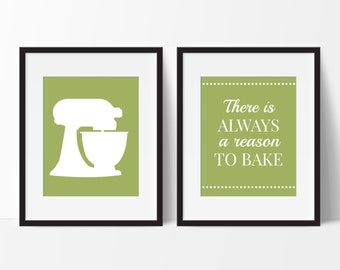 Kitchen Wall Art - There is always a Reason to Bake Quote - Kitchen Decor -  Set of 2 Modern Dining Room - Kitchen Art - Housewarming Gift