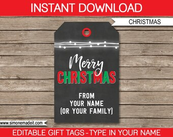 Christmas Gift Tags - Christmas Chalkboard Gift Tags - Merry Christmas Gift Tags - Printable Gift Tags -  INSTANT DOWNLOAD - EDITABLE text