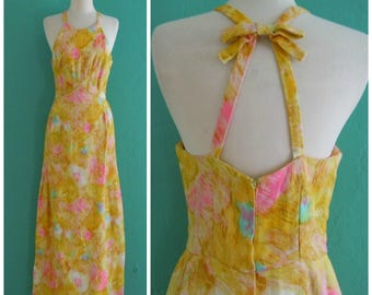 vintage 50's yellow floral maxi dress // spring print maxi dress