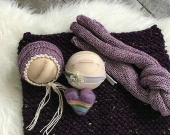 Purple Five Piece Set, Photo Prop,Photography Prop,Newborn Prop,Newborn Pictures,Baby Bonnet,Rainbow Heart