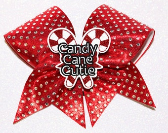 Candy Cane Cutie -   Rhinestone Christmas Cheer bow 3-D cutout by FunBows !