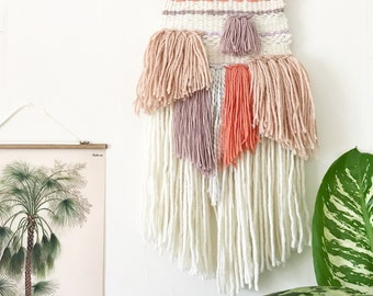 Blush Pink, Coral and Purple Hand Woven Textured Wall Hanging