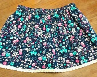 Wildflower Navy Child Skirt, Summer Skirt, Girl's Skirt, Toddler Clothing, Headband, Matching Set, Floaty, Spring, Beachwear, Holiday Wear