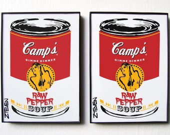 Iggy Pop Art Soup Cans, framed original art set by Zteven