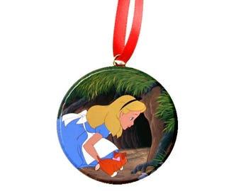 "Disney Alice In Wonderland Rabbit hole Image Cards  2.25"" Ornament"